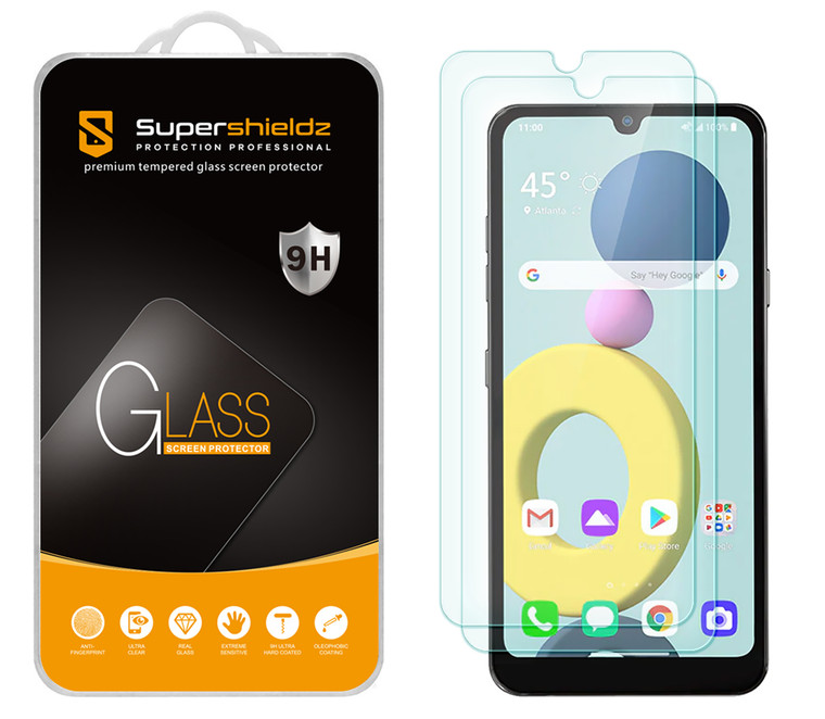 [2-Pack] Supershieldz for LG Xpression Plus 3 Tempered Glass Screen Protector, Anti-Scratch, Anti-Fingerprint, Bubble Free