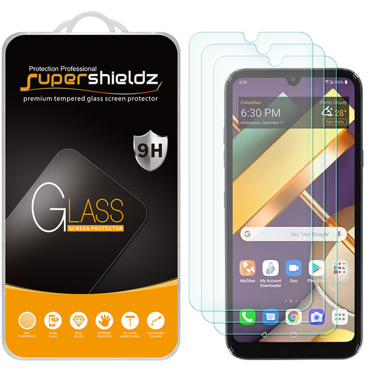 [3-Pack] Supershieldz for LG Xpression Plus 3 Tempered Glass Screen Protector, Anti-Scratch, Anti-Fingerprint, Bubble Free