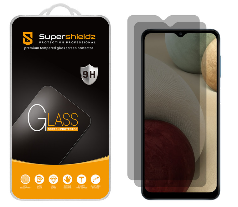 [2-Pack] Supershieldz for Samsung Galaxy A12 Privacy Anti-Spy Tempered Glass Screen Protector, Anti-Scratch, Anti-Fingerprint, Bubble Free