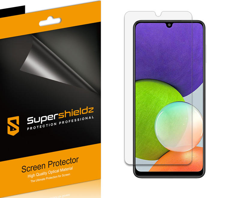 [6-Pack] Supershieldz for Samsung Galaxy A22 (6.4 inch) Screen Protector, Anti-Bubble High Definition (HD) Clear Shield