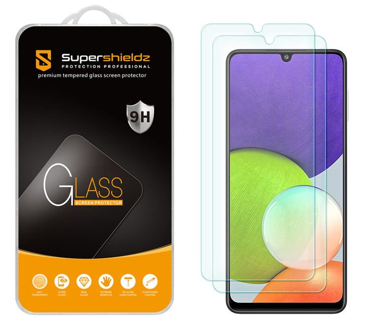 [2-Pack] Supershieldz for Samsung Galaxy A22 (6.4 inch) Tempered Glass Screen Protector, Anti-Scratch, Anti-Fingerprint, Bubble Free