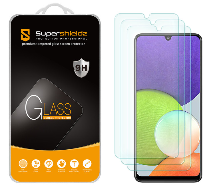 [3-Pack] Supershieldz for Samsung Galaxy A22 (6.4 inch) Tempered Glass Screen Protector, Anti-Scratch, Anti-Fingerprint, Bubble Free