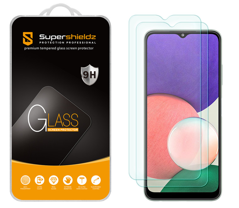 [2-Pack] Supershieldz for Samsung Galaxy A22 5G (6.6 inch) (5G Version Only) Tempered Glass Screen Protector, Anti-Scratch, Anti-Fingerprint, Bubble Free