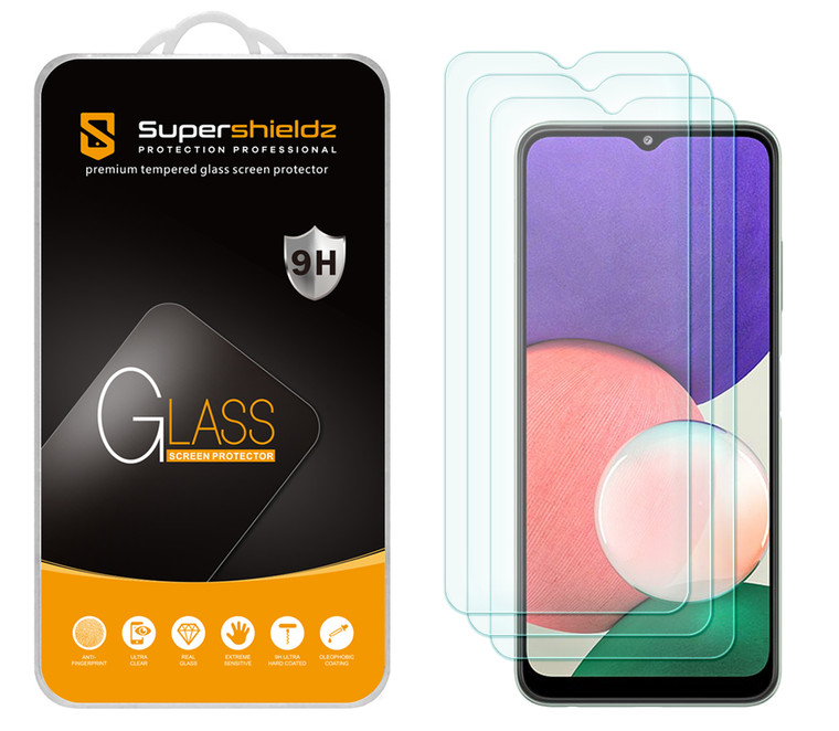 [3-Pack] Supershieldz for Samsung Galaxy A22 5G (6.6 inch) (5G Version Only) Tempered Glass Screen Protector, Anti-Scratch, Anti-Fingerprint, Bubble Free