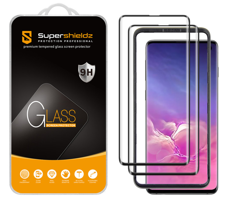 [2-Pack] Supershieldz for Samsung Galaxy S10 Tempered Glass Screen Protector with (Easy Installation Tray) Anti Scratch, Bubble Free (Black)