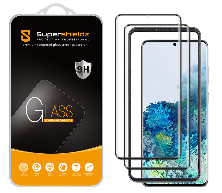 [2-Pack] Supershieldz for Samsung Galaxy S20 5G / Galaxy S20 5G UW Tempered Glass Screen Protector with (Easy Installation Tray) Anti Scratch, Bubble Free (Black)