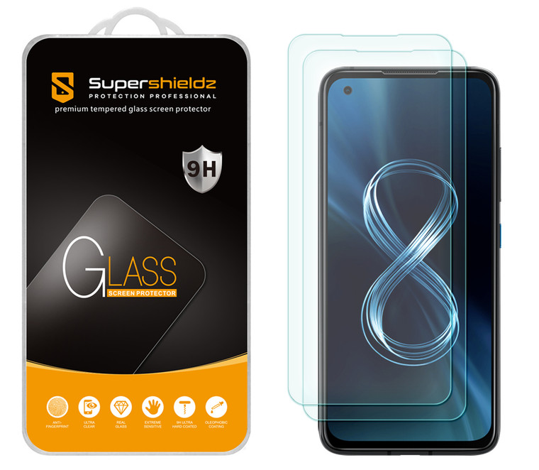 [2-Pack] Supershieldz for Asus Zenfone 8 (5.9 inch) Tempered Glass Screen Protector, Anti-Scratch, Anti-Fingerprint, Bubble Free
