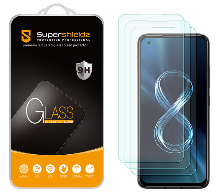 [3-Pack] Supershieldz for Asus Zenfone 8 (5.9 inch) Tempered Glass Screen Protector, Anti-Scratch, Anti-Fingerprint, Bubble Free