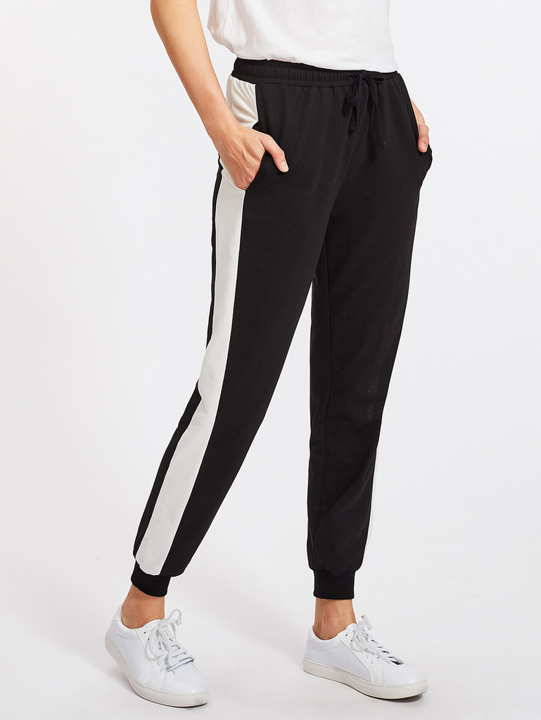 Fifth Avenue Women's Contrast Panel Active Jogger Pants - Black and White