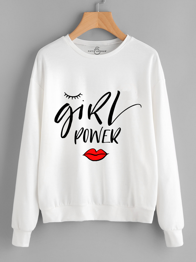 Fifth Avenue Girl Power Lips Printed Sweatshirt - White