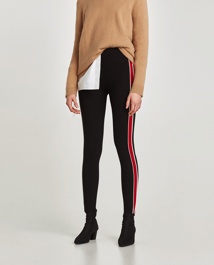 Fifth Avenue MZ Contrast Panel and Seam Leggings - Black and Red
