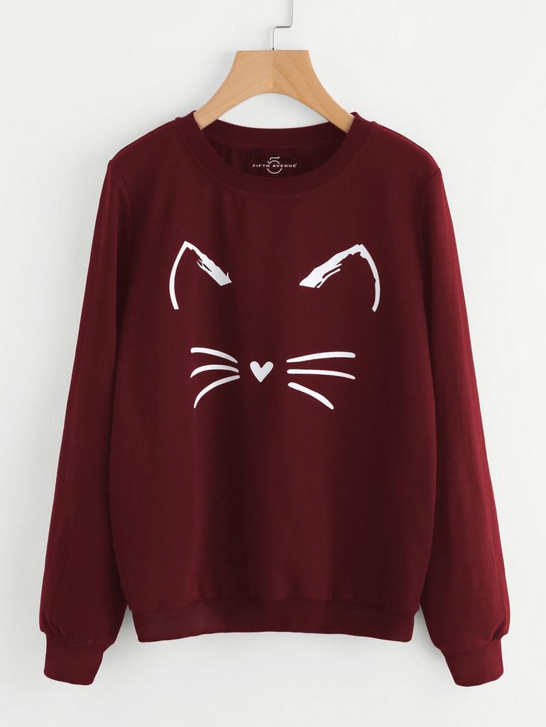 Fifth Avenue Happy Cat Printed Sweatshirt - Maroon