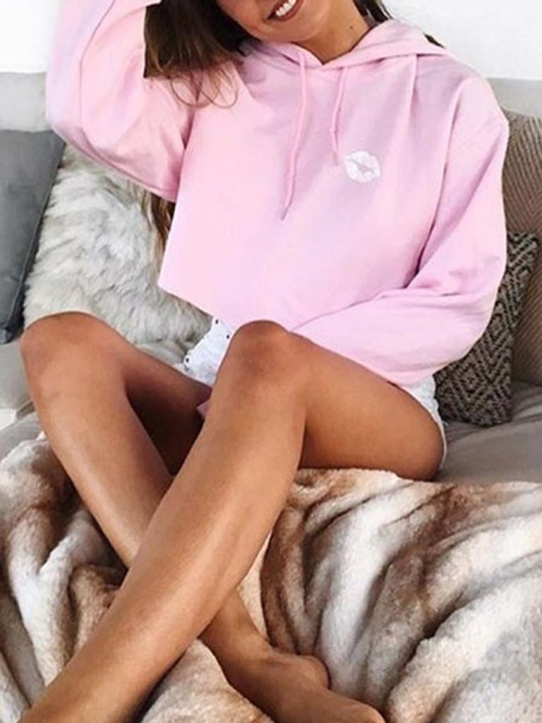 Fifth Avenue Cropped Cute Print Hoodie - Pink