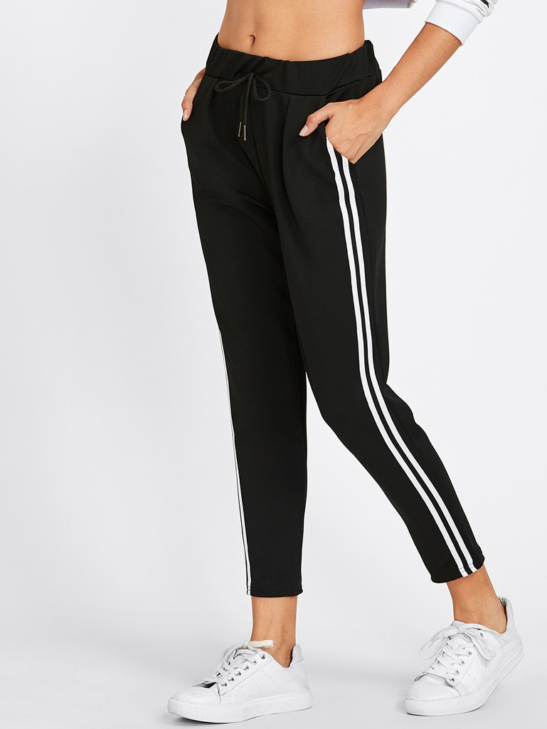 Women's Dual Striped Crop Track Pants by Fifth Avenue - Black