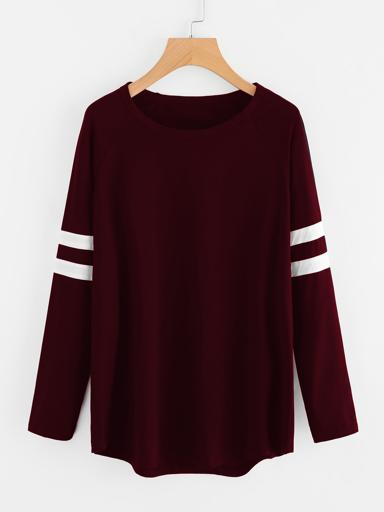 Fifth Avenue Women's NAZA Full Sleeve Striped T-Shirt - Maroon