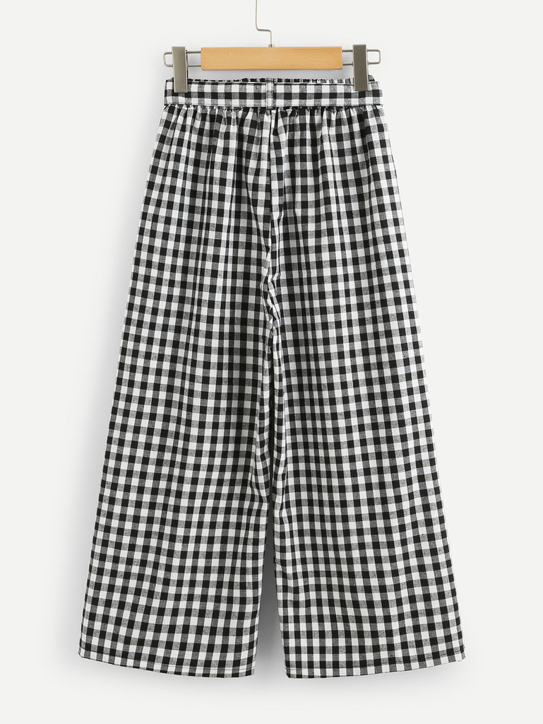 Fifth Avenue Women's Gingham Self Tie Wide Leg Culotte Pants - Black and White