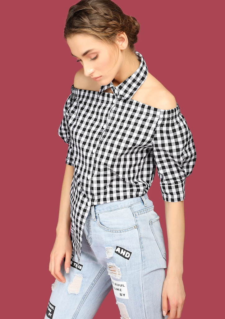 Fifth Avenue Women's Off Shoulder Button Collar Gingham Shirt - Black and White