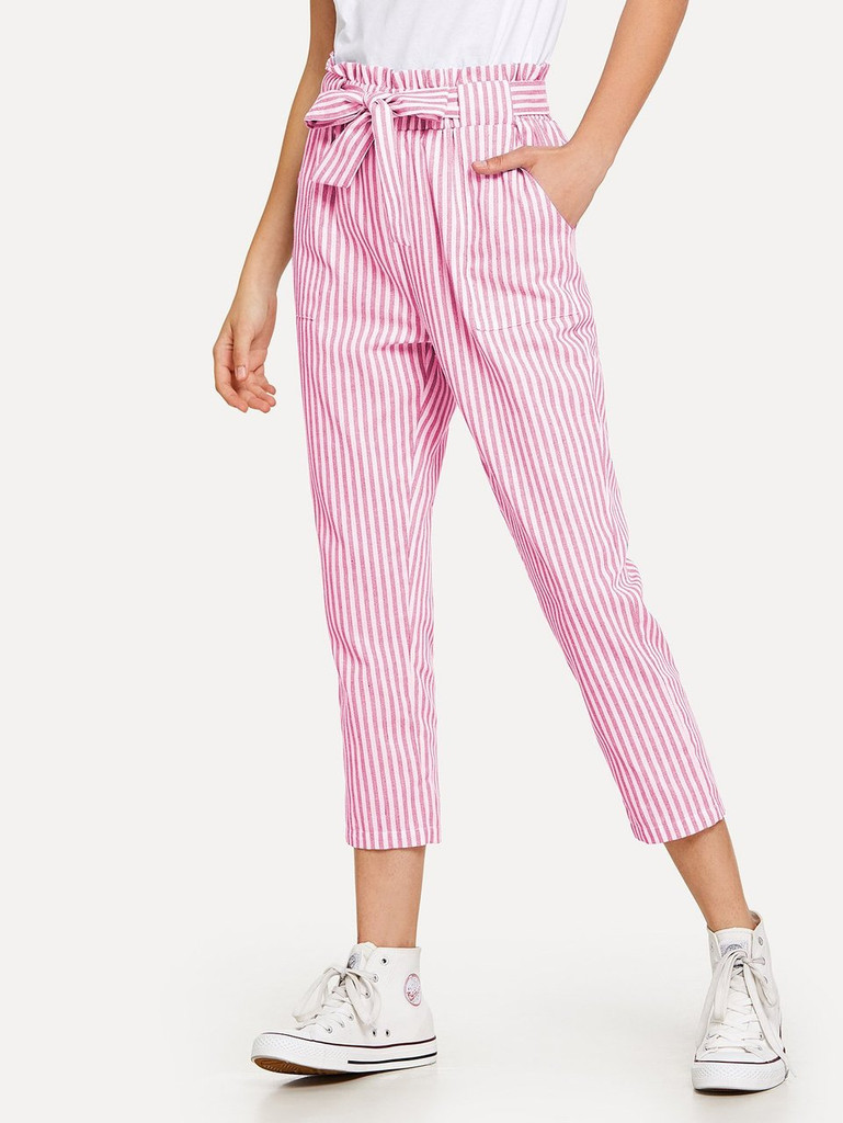 Fifth Avenue Womens NOSTR Striped Tie Waist Pants - White and Pink