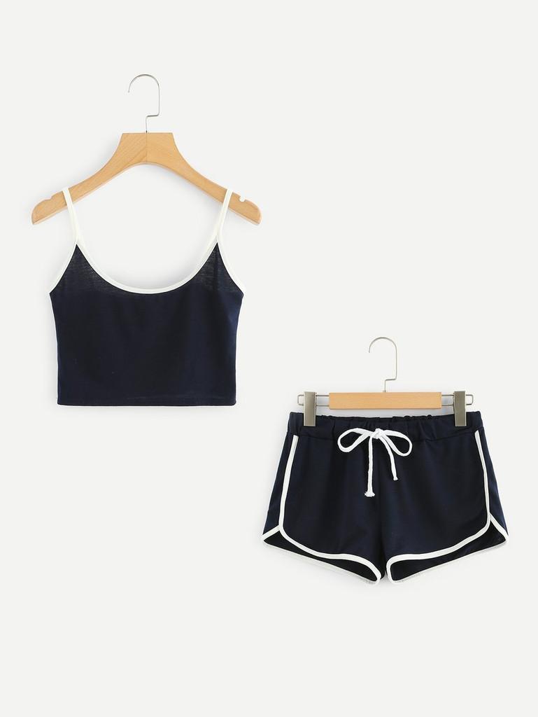 Fifth Avenue Women's NEVR Contrast Binding Cami Top Shorts Set - Navy Blue