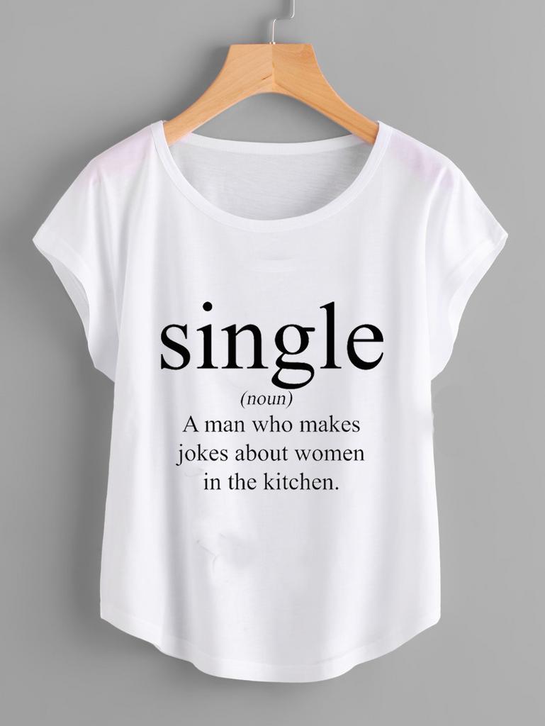 Fifth Avenue Women's Single Kitchen Complain Printed Dolman T-Shirt - White