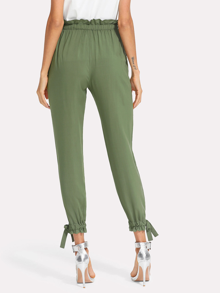 Fifth Avenue Womens HIKK Tie Waist and Elastic Ankle Pants - Green