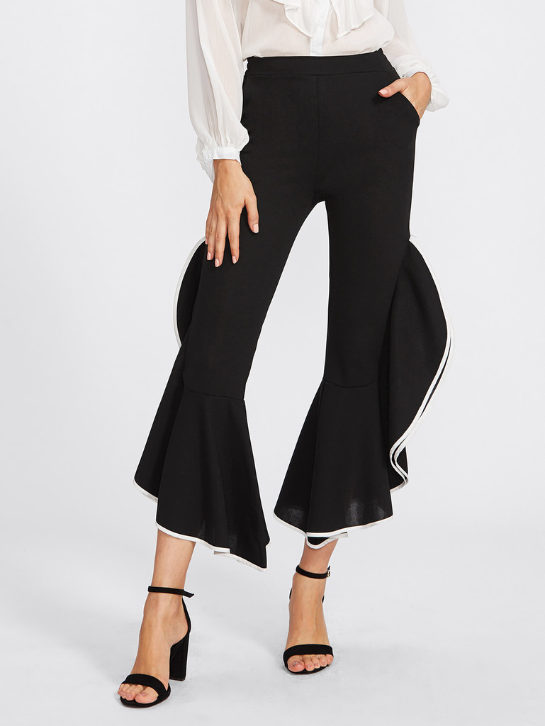 Fifth Avenue Womens THGF Contrast Binding Pants - Black and White
