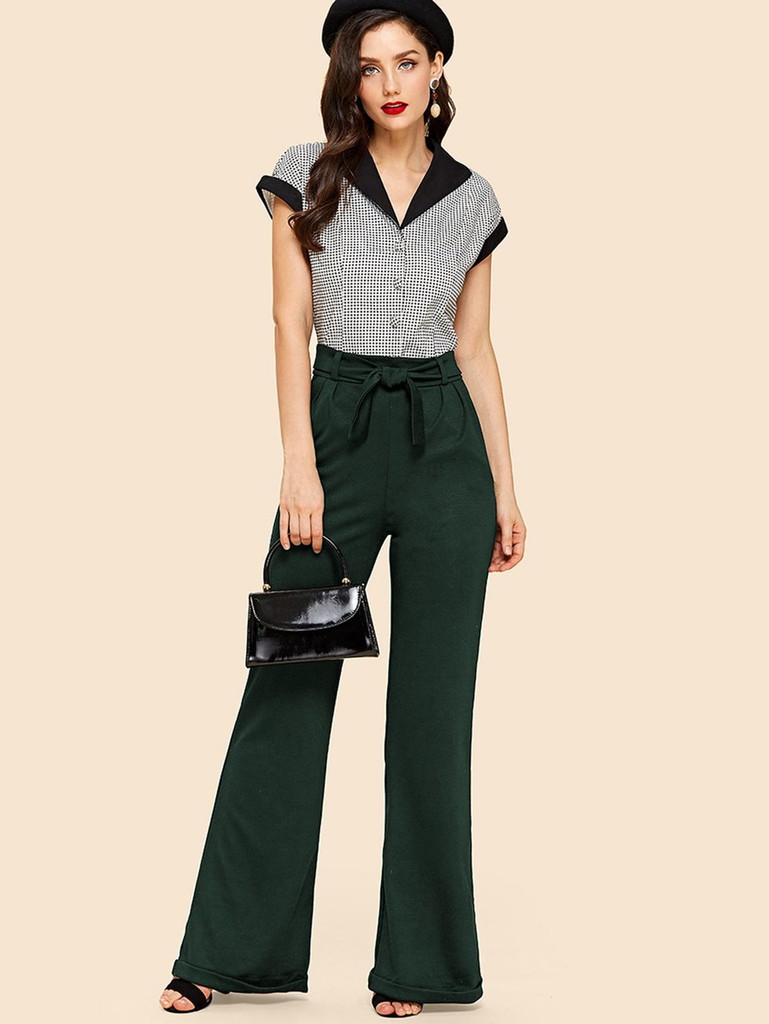 Fifth Avenue Womens NIXX Flare Cuffed Wide Leg Pants - Green