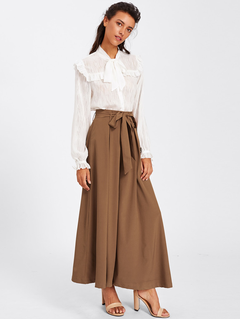 Fifth Avenue Womens UNEP Skirted Wide Leg Pants - Brown