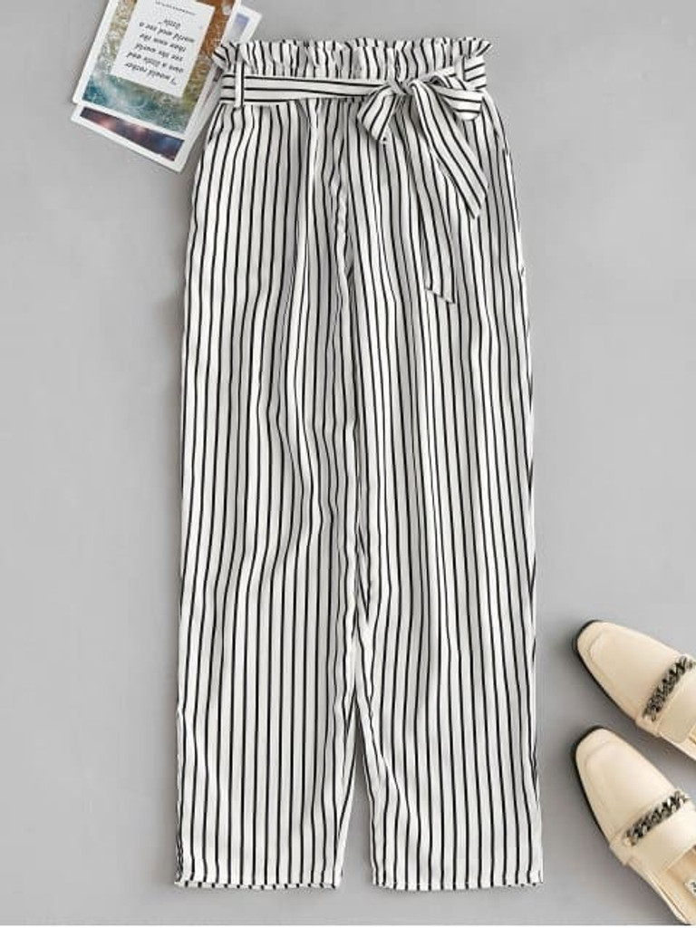Fifth Avenue Womens NIPT Tie Waist Striped Cotton Pants - White