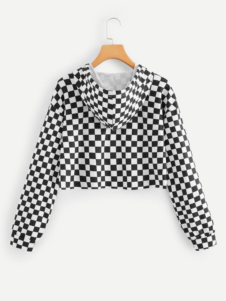Fifth Avenue MINGA All Over Check Full Sleeve Hoodie - Black and White