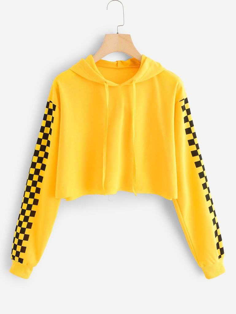 Fifth Avenue Cropped Checkered Sleeve Print Hoodie - Yellow and Black