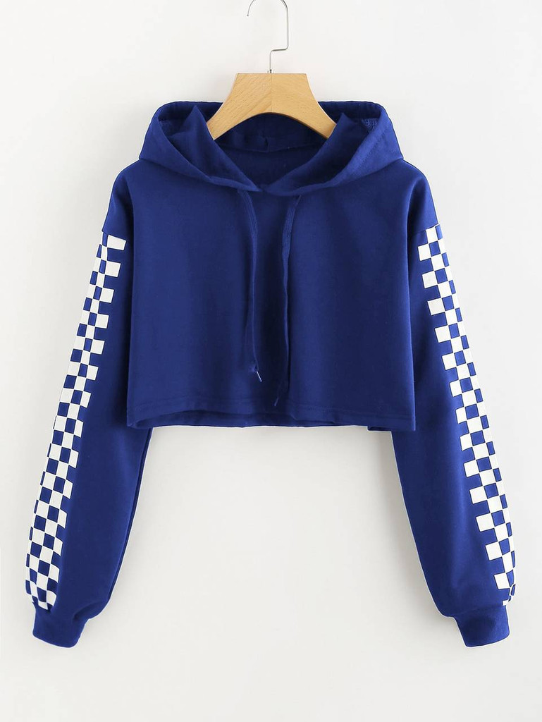 Fifth Avenue Cropped Checkered Sleeve Print Hoodie - Royal Blue