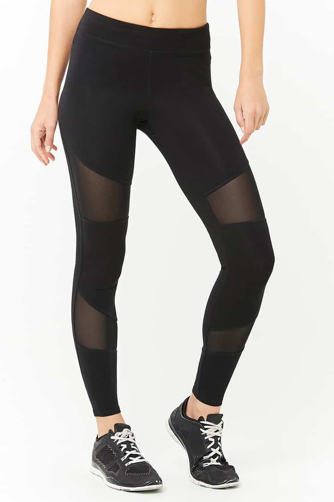 Fifth Avenue U875 Active Mesh Panel Yoga Pants - Black