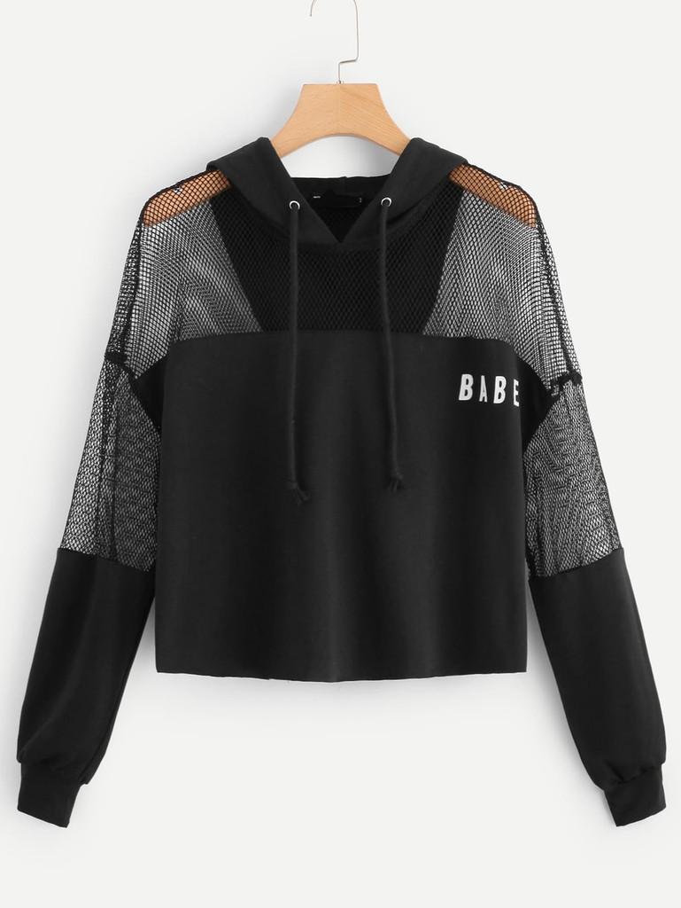 Fifth Avenue Cropped YIKAZ Mesh Panel Babe Print Hoodie - Black