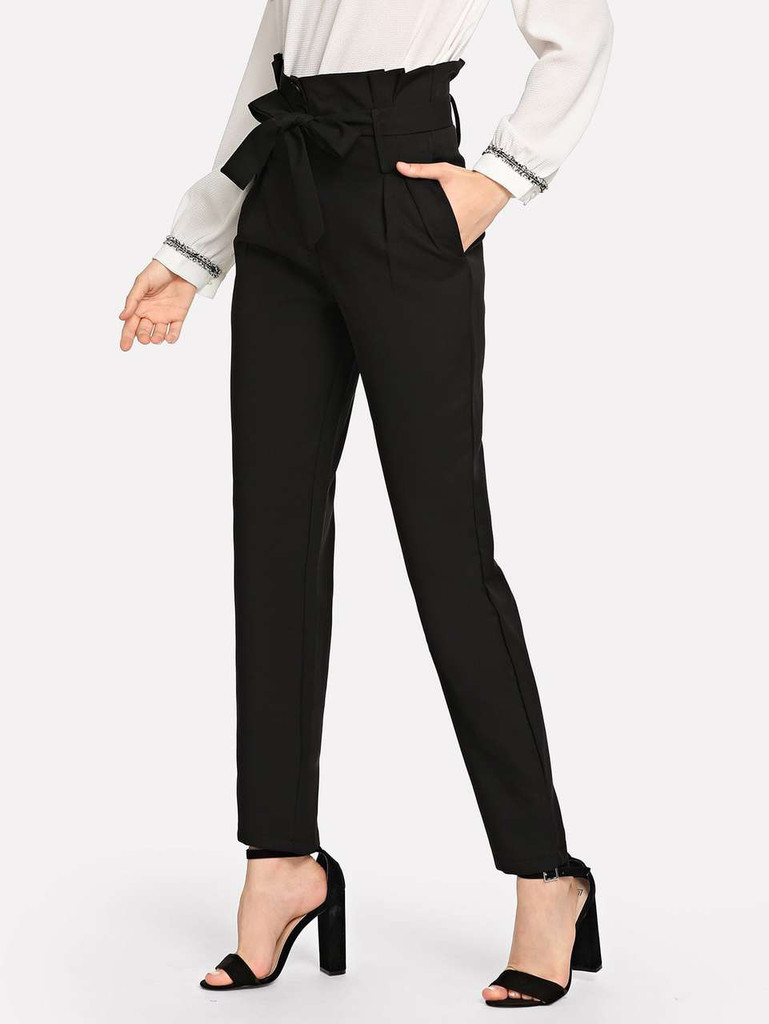 Fifth Avenue Women's JIKSP2 Tie Waist Frill Pants - Black