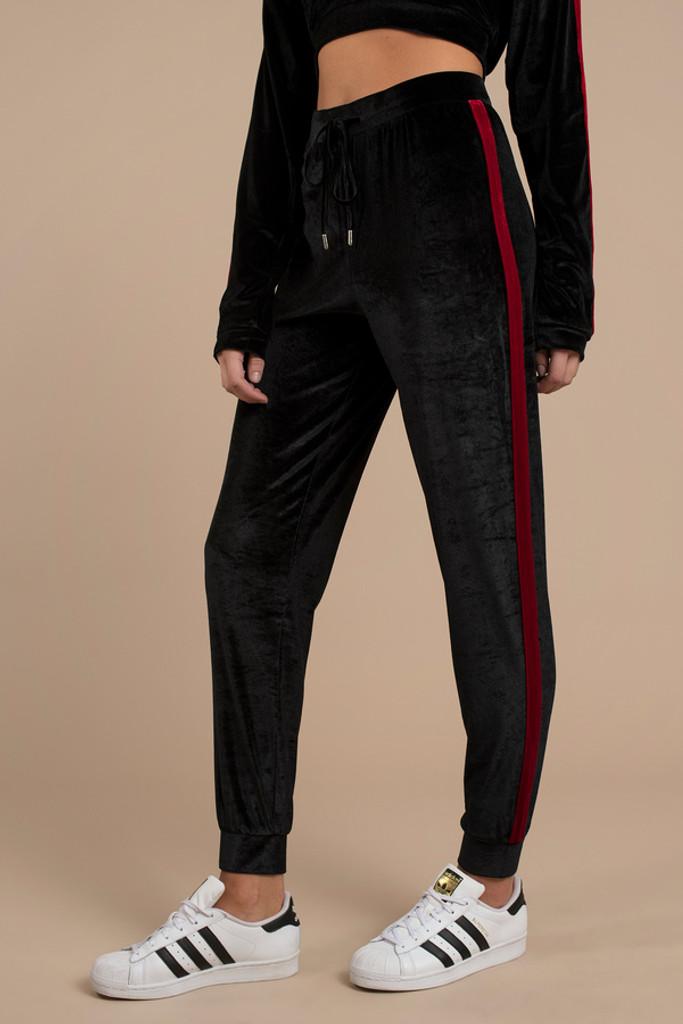 Women's TIJK1 PANEL Velvet Jogger Pants by Fifth Avenue - Black