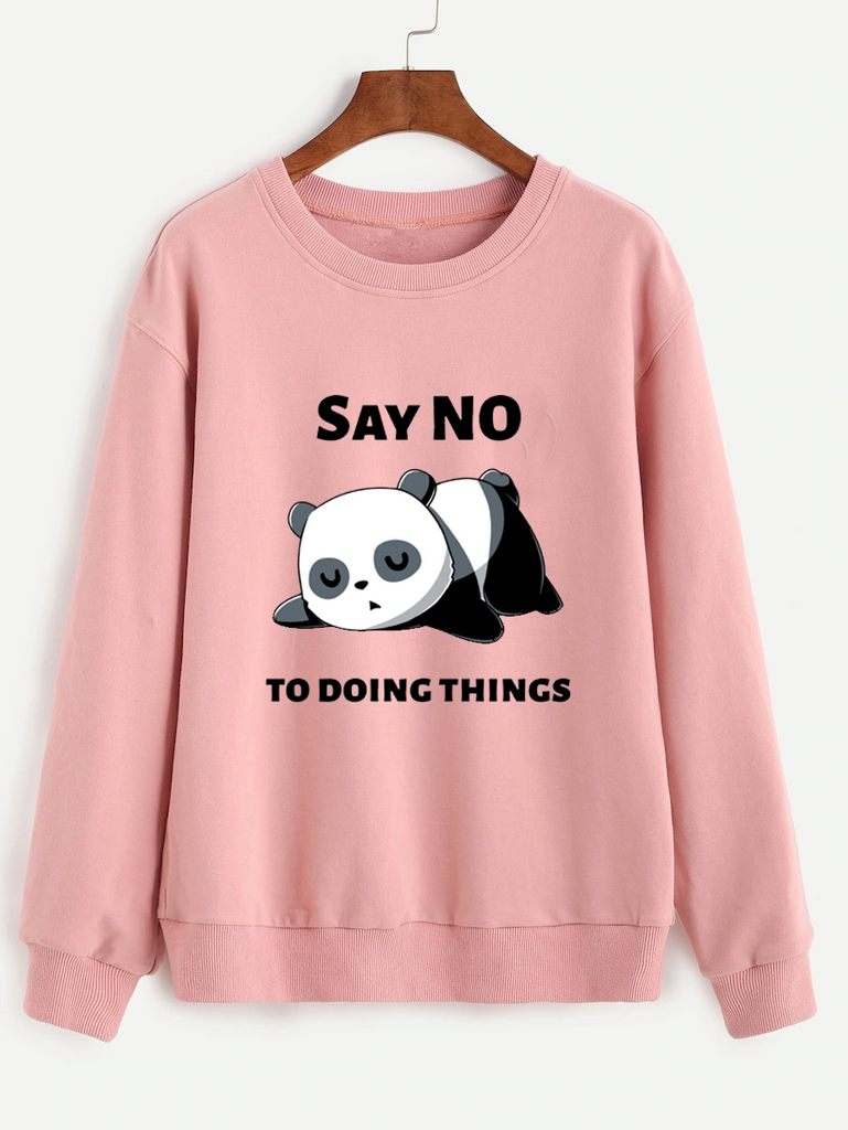 Fifth Avenue Say No To Doing Panda Printed Sweatshirt - Pink