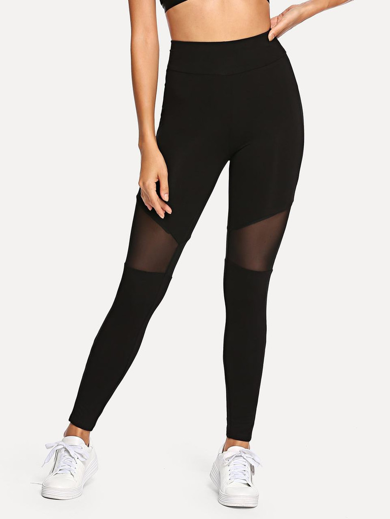 Fifth Avenue U840 Active Mesh Panel Yoga Pants - Black