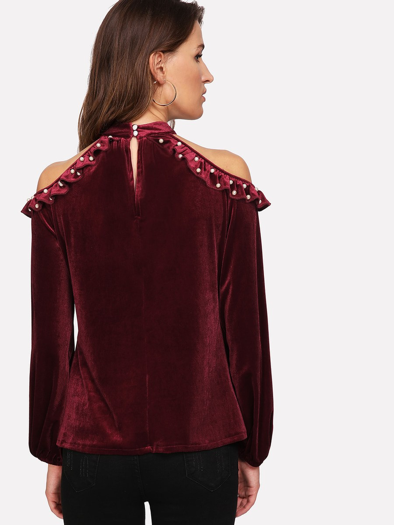 Fifth Avenue Women's VVA1 Velvet Cold Shoulder Blouse - Maroon