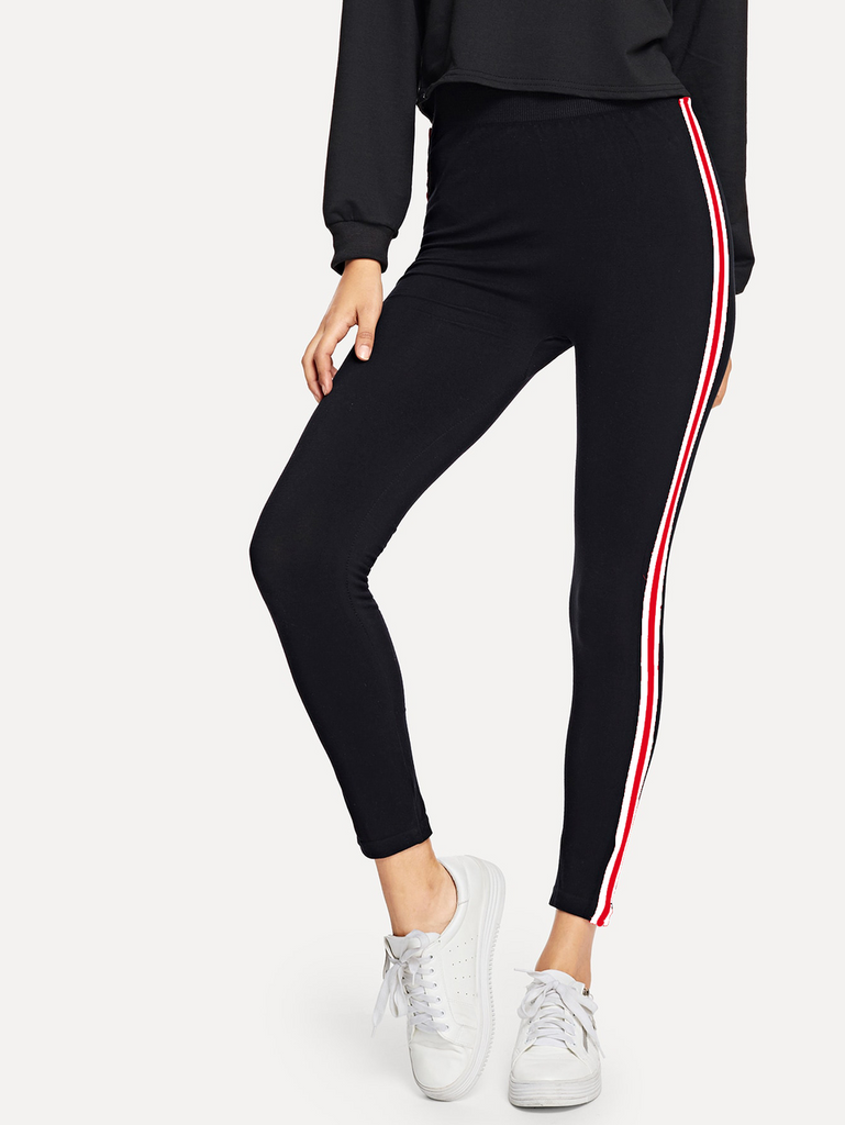 Fifth Avenue U850 Active Striped Tape Yoga Pants - Black