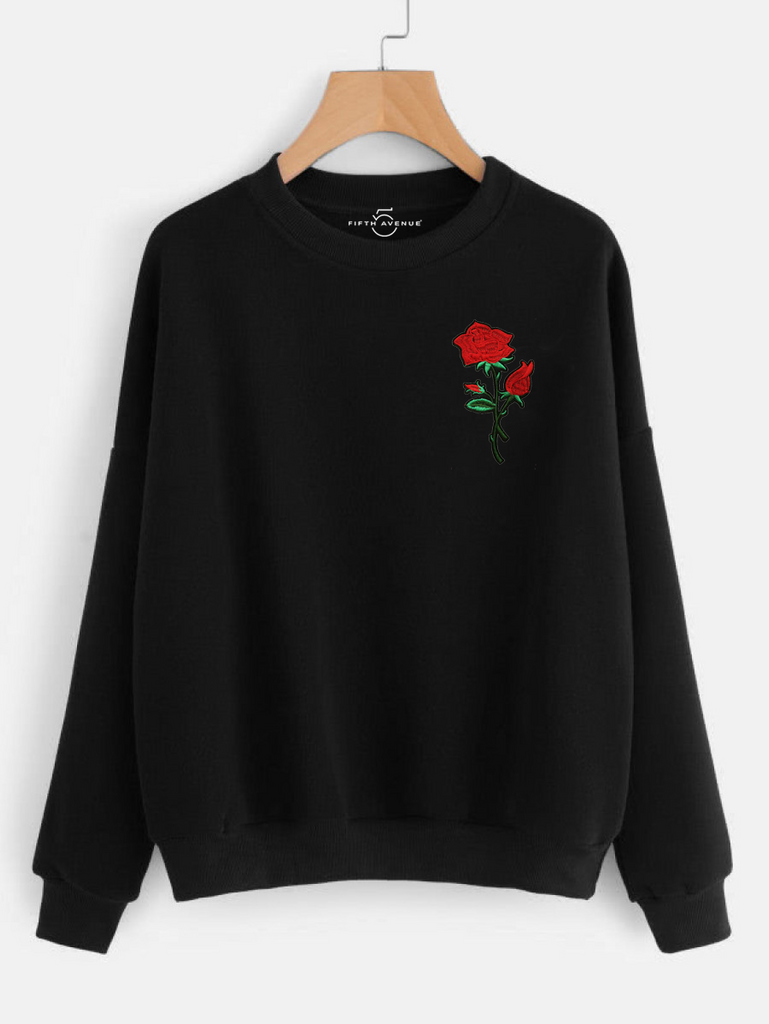 Fifth Avenue HITCHA Rose Embroidered Sweatshirt - Black