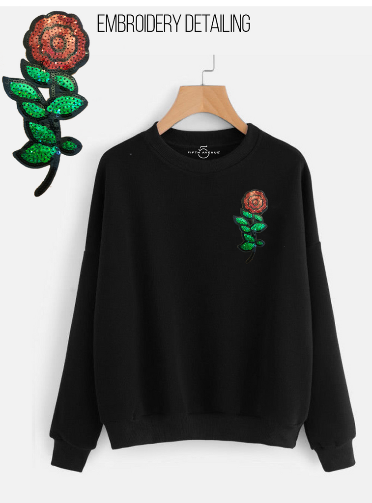 Fifth Avenue NINT3 Sequin Rose Embroidered Sweatshirt - Black
