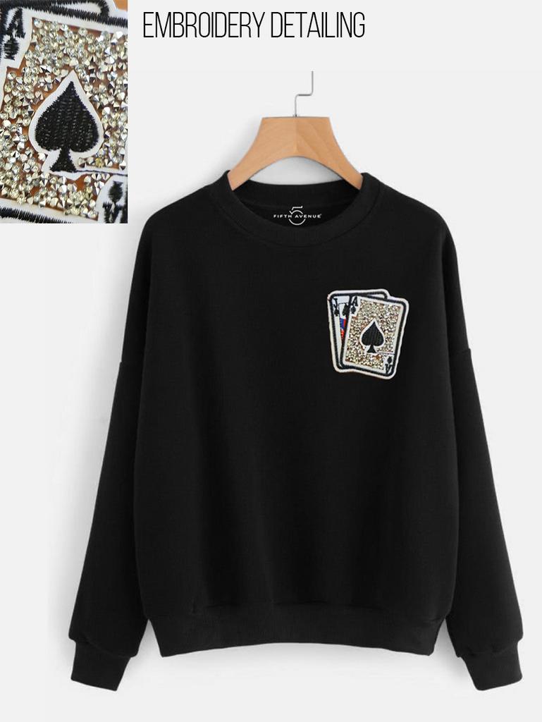 Fifth Avenue NINT4 Cards Rhinestone Embroidered Sweatshirt - Black