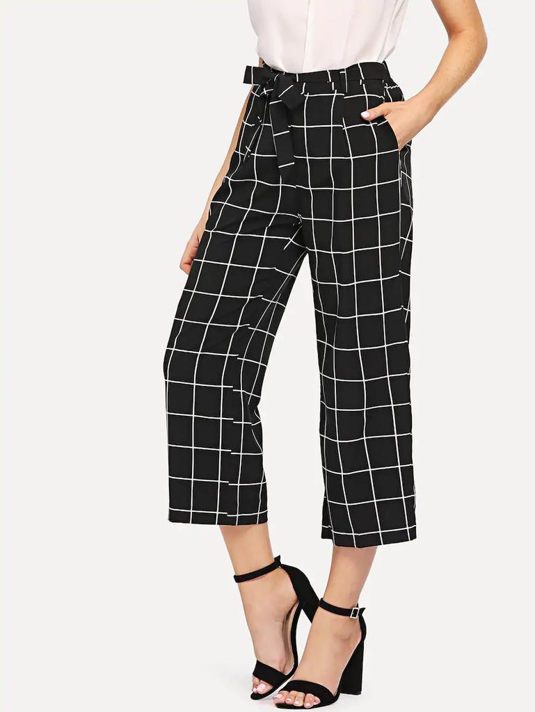 Fifth Avenue Cotton Grid Print CTWP1 Tie-Waist Culotte Pants