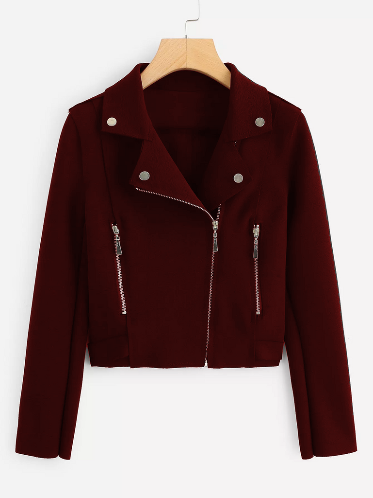 Fifth Avenue Cropped Fleece Moto Jacket LNA1001 - Maroon