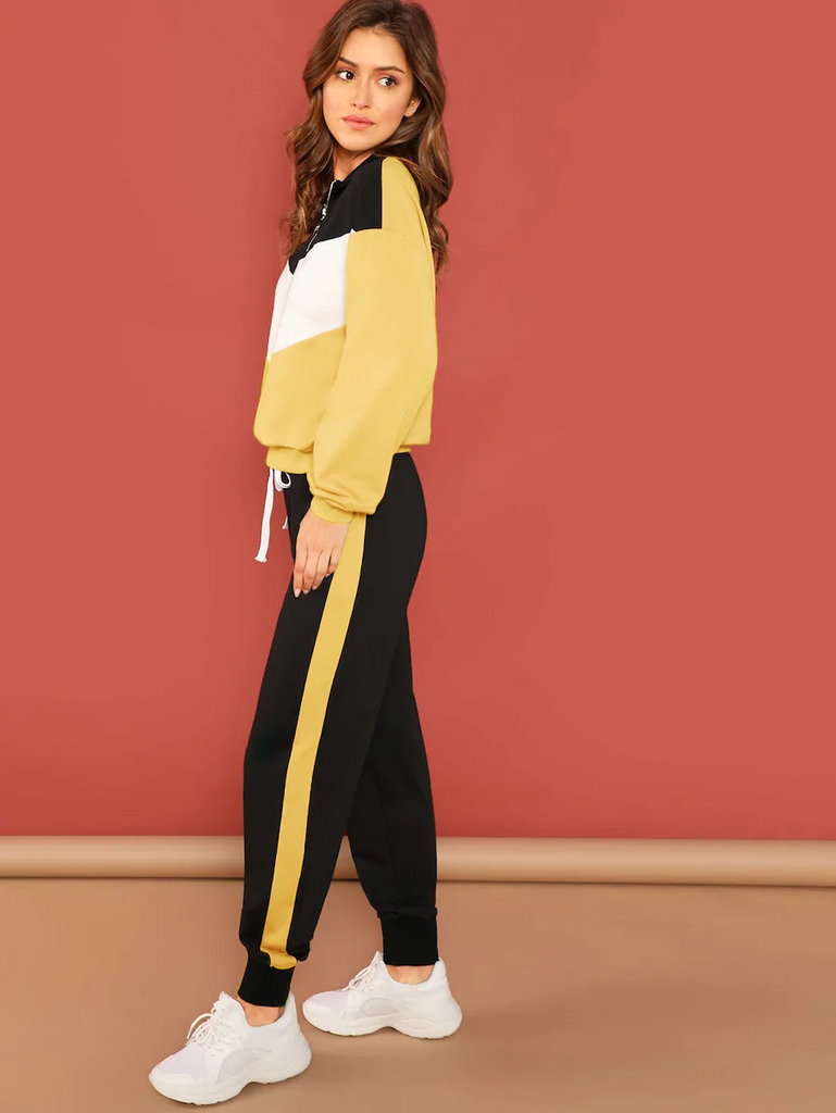 Fifth Avenue Women's TPS32 Color Block Zip Sweatshirt and Jogger Pants 2 Piece Co-Ord Sets - Yellow and Black
