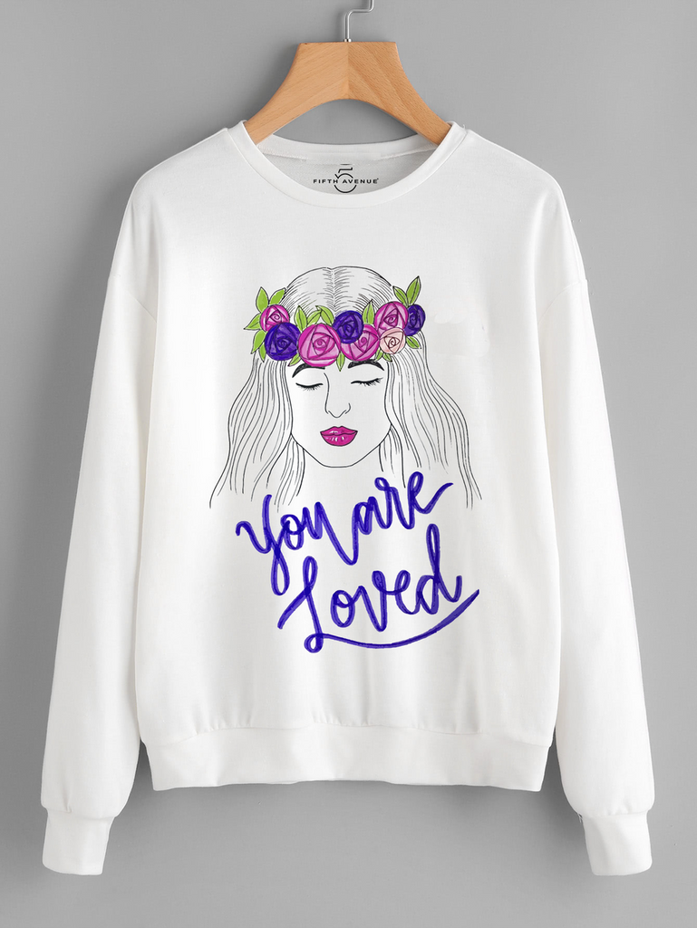 Fifth Avenue You Are Loved Vector Printed Sweatshirt - White