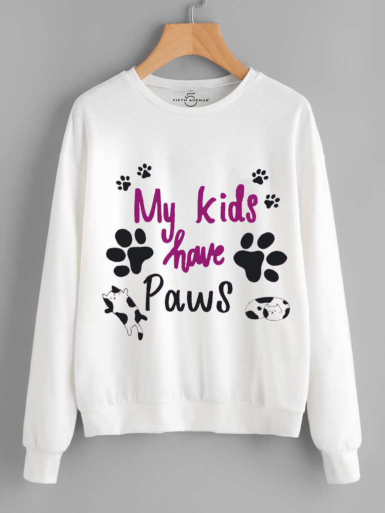 Fifth Avenue My Kids Have Paws Printed Sweatshirt - White