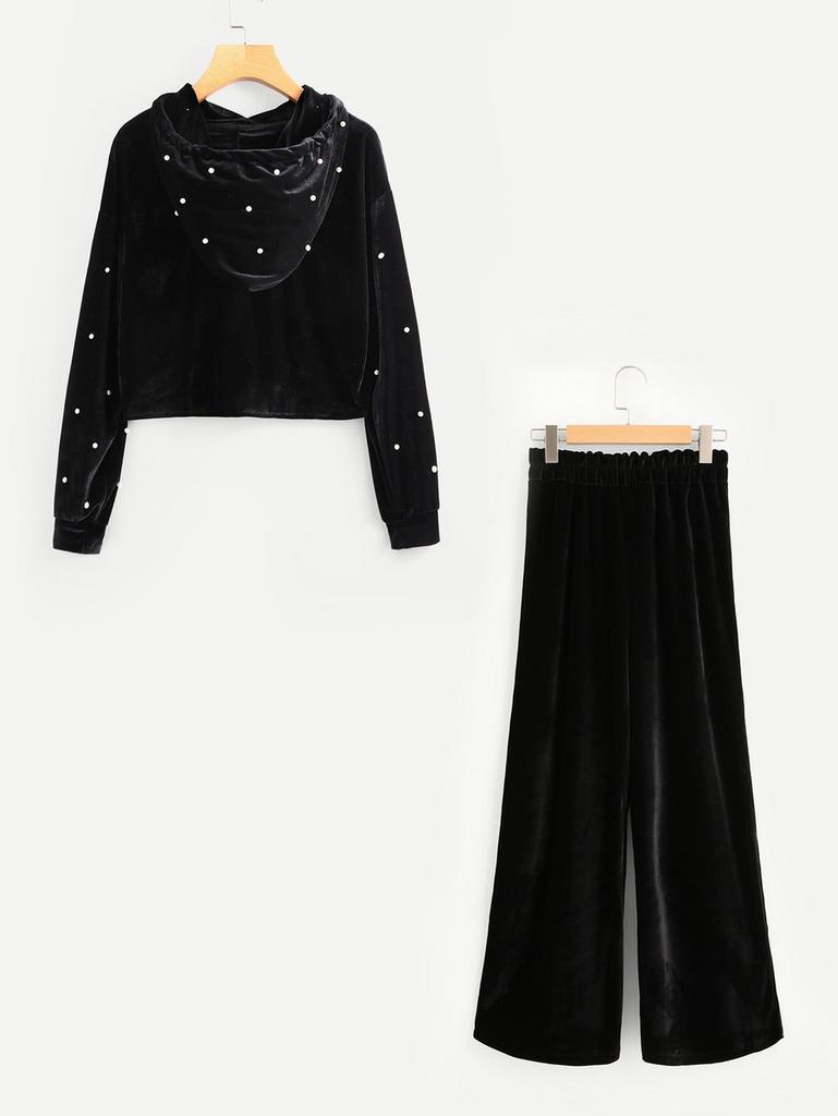Fifth Avenue Velvet Beaded Hoodie and Pants 2 Piece Set TPS38 - Black