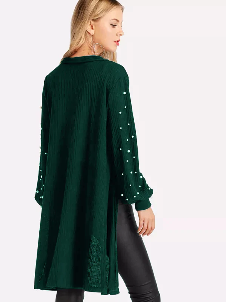Fifth Avenue Women's RAPT25 Winter Beaded Cardigan - Green